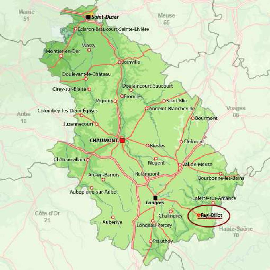 Lyc e horticole et du paysage de fayl billot plan d 39 acc s for Haute marne carte